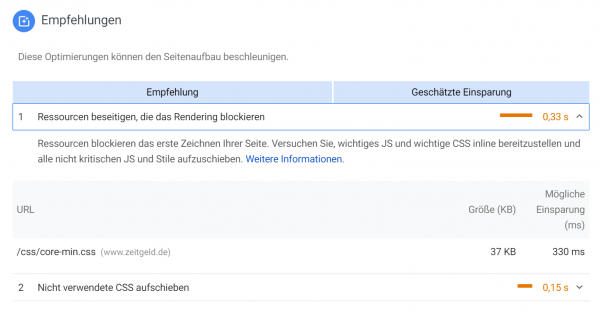 PageSpeed Insight Empfehlung