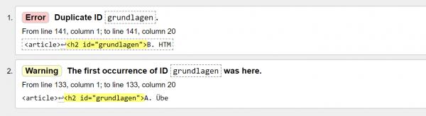 HTML Check Mehrfache IDs