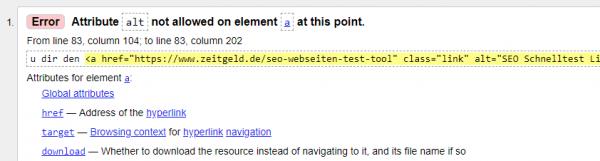 HTML Check Attribute nicht erlaubt