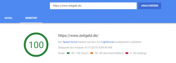 PageSpeed Insight Überblick Desktop