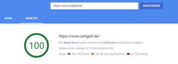 PageSpeed Insight Überblick Desktop